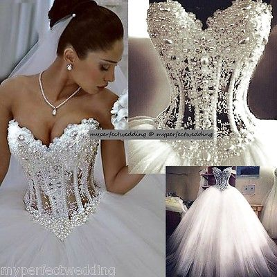ALL SIZES Heavily Pearl Beaded Wedding Dress See Through Lace Corset ...